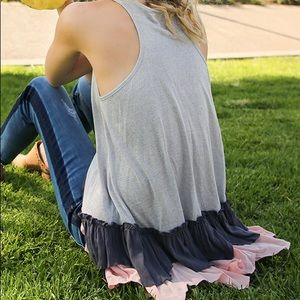 Tops - Silver, pink, and navy Ruffle Tank!
